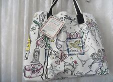BRIGHTON Large Canvas Holiday City Tote Shopper Handbag & Cosmetic Pouch Bag NWT