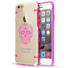 For iPhone SE 5 5s 6 6s 7 Plus Clear TPU Hard Case Cover Sugar Candy Skull