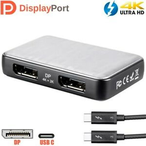 USB-C 3.1 Type C to 2x Display Port DP Thunderbolt 3 Adapter Cable 4K @60Hz HDTV