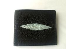 100% REAL GENUINE STINGRAY FISH SKIN BLACK LEATHER MENS BI-FOLD WALLET STING RAY
