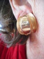 Authentic Vintage 1950's Gold Tone Oversize Clip Matte & Shiny Earrings