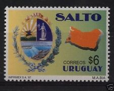 Map of Salto waterfall & arms of city URUGUAY Sc#1677 MNH STAMP cv$2