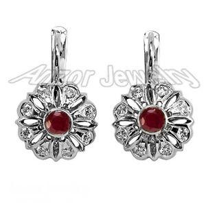 Russian Style Genuine .56ct Diamond & .60ct Ruby Earrings 18k white Gold 6.50gr