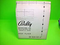 Bally HIGH FLYER 1977 Original Bingo Arcade Game Pinball Machine Schematic
