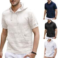 Casual Summer Men's Solid Hooded Short Sleeve Linen Slim T-shirt Pullover Tops