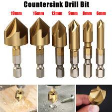 6Pcs/Set HSS Hex Shank Five Flutes Countersink Drill Bit Power Tool Accessories