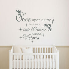 Girls Name Wall Decals Once Upon a Time Decal Quote Vinyl Sticker Nursery T40