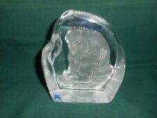 Magnor Glassverk Norwegian crystal paperweight, the wood troll.