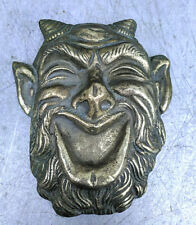 Brass Devil's Head hanging on the Wall Damn Pan Souvenir Vintage USSR  Heavy