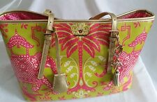 """Excellent condition! SPARTINA 449 """"Resort"""" Pink Elephant Tote w/ Charm-Lime/Pink"""