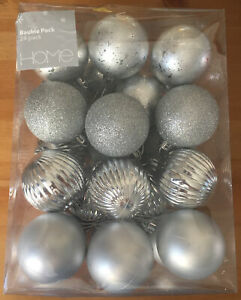 Sainsbury's HOME Silver Christmas 24 Pack 60mm Shatterproof Baubles Decorations