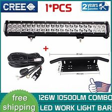 "20inch 126W CREE LED Light Bar+23"" License Plate Bumper Mount Bracket+Wiring Kit"