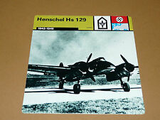HENSCHEL Hs 129 1942-1945 LUFTWAFFE AVIATION FICHE WW2 39-45
