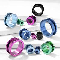 PAIR Titanium Ion Plated Screw Fit Tunnels Steel Plugs Earlets Earrings Gauges