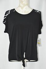 Style & Co. Womens Medium Black White Loose Fit Tie Waist Blouse Shirt Top