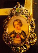 gioielli antichi oro argento ciondolo spilla miniatura dipinta su porcellana