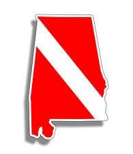 Alabama Scuba Diver Down Sticker AL State Bumper Window Decal Car Cup Boat Dive