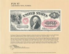 "BEP SOUVENIR CARD B102 ISSUED 1987 SHOWING SERIES 1874 $1 NOTE ""WASHINGTON"""