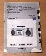 SHARP GF-7500Z portable radio cassette BOOMBOX product user owners manual