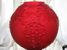 GWTW SATIN RUBY RAISED GRAPE BALL OIL LAMP GLOBE SHADE 10 1/2 ' W/4' FITTER