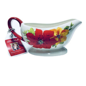 The Pioneer Woman RED POINSETTIA Gravy Boat Ree Drummond Christmas Holiday NEW