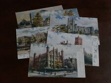 ORIGINAL SET OF SIX CHARLES FLOWER SIGNED TUCK POSTCARDS, NEW YORK COLLEGES 2154
