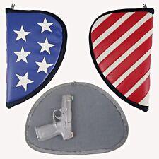 Leather pistol gun case USA American flag handgun holder by Mammoth Peak