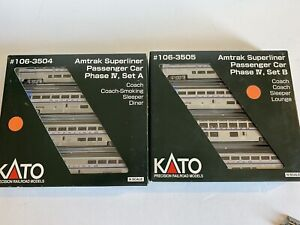 KATO N Train Amtrak Superliner Phase IV Set A & B #106-3504 #106-3505