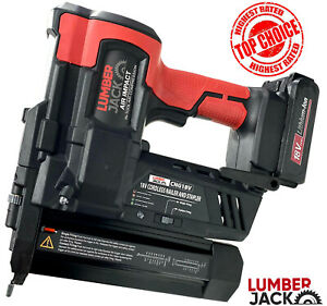Lumberjack Cordless Nail Gun & Stapler Li-Ion 18v 2nd Fix Brad Nailer with Case