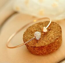 Fashion Womens Gold Crystal Love Heart Opening Bangle Cuff Bracelet Friend Gift