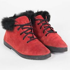 WOMENS VINTAGE 80'S ANKLE BOOTS RED SUEDE RABBIT FUR TRIM LACE UP UK 4 EU 37