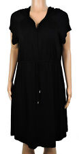 New Dotti Black Hooded Drawstring Pullover Cover Up Size 2X
