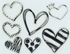 HEARTS CLEAR STAMPS-7 LARGE LOVE HEART SILICONE STAMP-VALENTINES/WEDDING-CARD