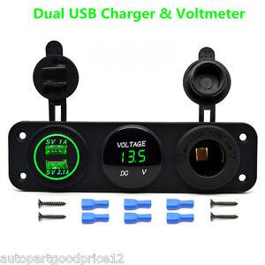 DC12V Car Boat Multi Function Panel Outlet Dual USB Charger Socket LED Voltmeter