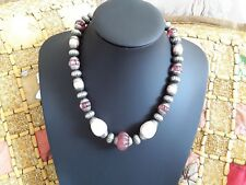 vintage ART DECO pink frosted & metal & faux pearls large beaded necklace