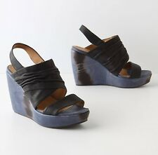 ANTHROPOLOGIE SHIBORI STACKED WEDGES COCLICO SLINGBACK SHOES 38 $398