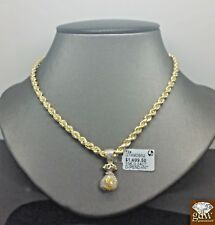 """Real 10k Yellow Gold Money Bag Real Diamond With 10k Rope Chain  22"""" Inch, N"""