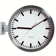 Karlsson Large Bracket Double Sided Aluminium Finish Indoor Wall Clock