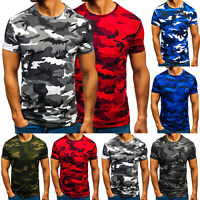 Men's Military Army Short Sleeve Muscle T-Shirt Camo Summer Gym Hip Hop Tee Tops