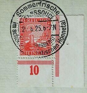 DR Weimar Rheinland 1925 Mi.Nr: 373 P Ecke  UR  Sonderstempel Sanssuci