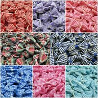 Small Gingham Ribbon Bows - Packs of 10 - 7 Colours & 1 Tartan - Multi Buy Save