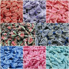 Small Gingham Ribbon Bows - Packs of 10 - 7 Colours & 1 Tartan - 3 FOR 2