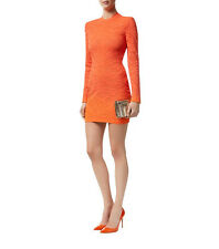 BALMAIN TIGER KNIT ORANGE MINI DRESS FR 38 UK 10