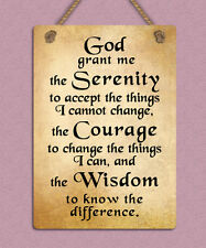 metal hanging sign god serenity prayer positive inspiring quote wall door plaque