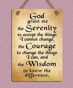 metal hanging sign god serenity prayer positive inspiring quote wall door plaque