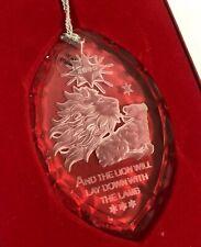 2000 Lenox Millennium Leone & Agnello Incisione Cristallo Ornamento IN Scatola