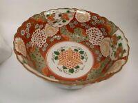 Antique 19th century Japanese Arita Kutani porcelain bowl 25 cm