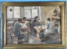 Aquarell Gemälde Stickerei Werkstatt der Frau des Malers Alfred Thielemann 1938