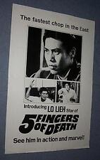5 FINGERS OF DEATH FIVE FINGERS OF DEATH KING BOXER Lieh Lo NEW ZEALAND DAYBILL