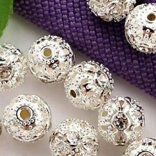 Flower Round 100pcs Chain Charm Jewelry Spacer Silver Plated Hollow Beads